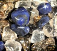 Coral, sodalite, rock crystal